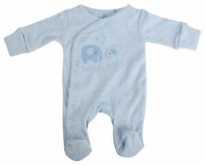Ex-Store Baby Boys 2020 Elephant Design Cotton Sleepsuit Blue
