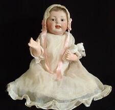 """17"""" ANTIQUE GERMAN BISQUE DOLL CHARACTER BABY HERTEL SCHWAB CO 152"""