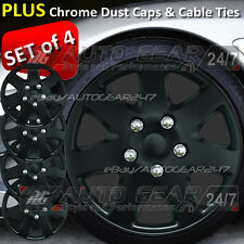 "14"" inch Matt Black ABS Plastic 4 Wheel Trims Hub Cap Covers + Dust Caps + Ties"