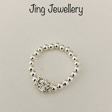 925 STERLING SILVER BEADED STRETCH RING SPARKLY SHAMBALLA BEAD ALL SIZES