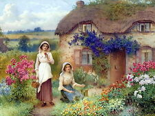 Art Print Thatched Cottage c19th Farm Girls Women Floral Gardens Picking Flowers