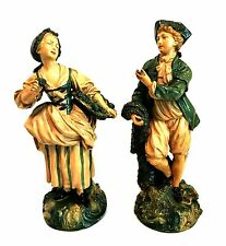 Niepold Borghese Figurines Vintage Pair Fisherman & Woman with Basket 12 in Tall