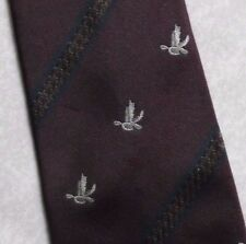 FLYING DUCK MALLARD TIE VINTAGE RETRO BURGUNDY BY BURTON 1980s 1990s