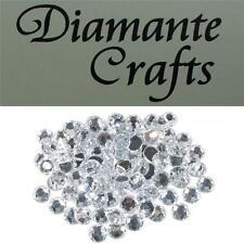 100 x 8mm Clear  Diamante Loose Flat Back Rhinestone Vajazzle Body Gems