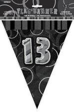 13th Black Glitz Bunting - 12ft Long - Plastic Party Pennants Flag Banner