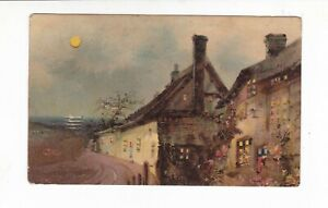 HOLD to LIGHT    Vintage   HTL  CHRISTMAS  postcard   COTTAGE LIGHTS   FULL MOON