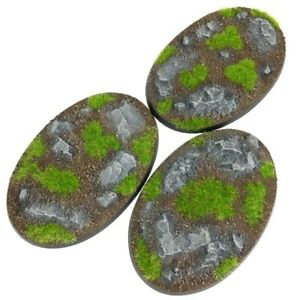 Rocks - Oval Resin Bases 105mm - 3 Painted/Unpainted Bases for Warhammer