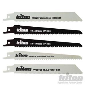 Triton Reciprocating Saber Saw Blades 5pce Wood/Metal 150mm Most Popular Sizes
