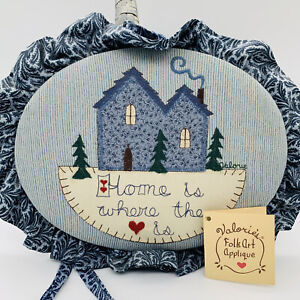 Valorie Sockwell Folk Art Applique Basket.Home Is Where The Heart Is. Blue