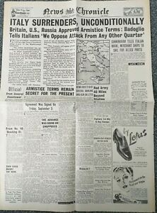 News Chronicle ww2 newspaper - September 9th 1943 - Italy surrenders