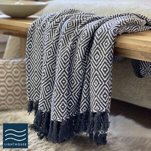 Luxury Eco Friendly Dark Grey White Abstract Diamond Sofa Throw Blanket Large
