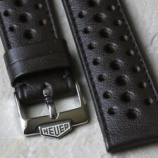 Heuer Camaro brown pinpoint leather 1960/70s rally band 19mm with Heuer buckle