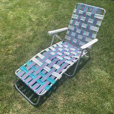 Vintage Aluminum Webbed Chaise Lounge Lawn Chair Mid Century Beach Patio