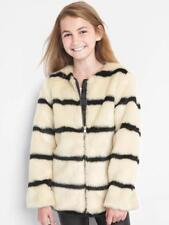 Gap Kids Girls Faux Fur Coat Jacket, Black Stripe SIZE M (8) (REG) #921183 E1023
