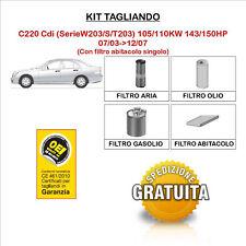KIT TAGLIANDO 4 FILTRI MERCEDES CLASSE C220 Cdi SerieW203/S/T203 07/03->12/07