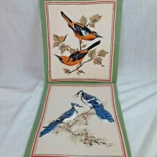 "Set of 2 Handmade Bird Cloth Photos Wall Pictures Oriole and Blue Jay 10.75""x12"""