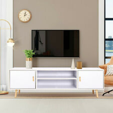 White TV Stand Cabinet Media Entertainment Unit 2 Door & Shelf Coffee Sideboard