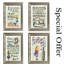 Alice in Wonderland Bonkers 4 x Vintage Art Prints Original Page new home gift