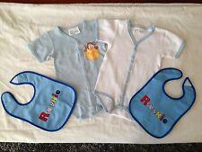 BNIP Baby Boy 0 Cute Blue & White Short Romper Suits & 2 Bonus Plastic Back Bibs