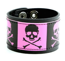 Skull Crossbone Punk goth Shiny Wristband Zombie Metal Rock
