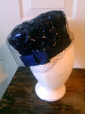 Vintage 50's Union Seal Navy Blue Pillbox Hat Veil Netting Birdcage Ribbon Weave