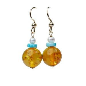 Nice Vintage natural Baltic amber natural Turquoise w/pearl earring 35mm AD36