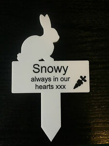 Personalised Engraved Acrylic White Rabbit Memorial Plaque
