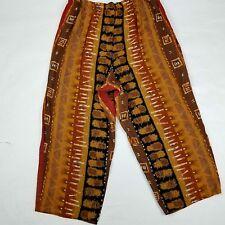 Womens Pant Plus Sze 22W Capri Brown Carmel Geometric Boho Vtg Flowing USA Made
