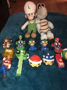 Nintendo Super Mario Bros lot~Plush Luigi & Turtle + 11 Figures estate/Ft SM502
