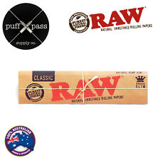 RAW CLASSIC KING SIZE SLIM NATURAL UNREFINED ROLLING PAPERS - SMOKING TOBACCO