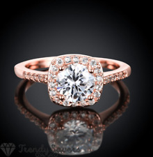 Rose Gold Sterling Silver Filled Cubic Zirconia Square Silver Engagement Rings