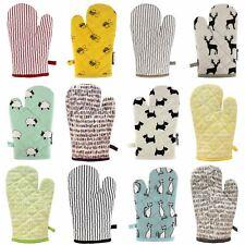 Single Oven Gloves 100% Heat Resistant Cotton Oven Gauntlet Mitts