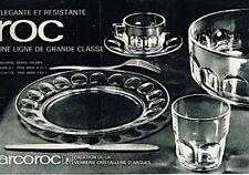 I- Publicité Advertising 1970 Service de table verre assiette ROC Arcoroc Arques