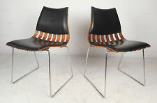 Pair of Norwegian Mid-Century Modern Leather and Rosewood Side Chairs (9730)NJ