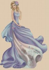 Elegant Lady in Blue Dress Counted Cross Stitch COMPLETE KIT-No.1-156XX