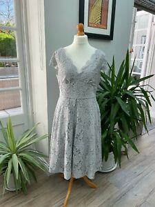 women's Jolie Moi lined grey/silver lace wedding guest/mother of bride dress 16