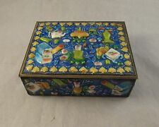 Antique Chinese blue enamel box precious objects 1900