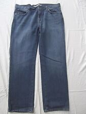 DKNY men denim jeans blue distress 38x32 40x32 classic straight whiskered HOT!