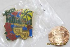 QVC Hawaii State 1997 50 50 Islands Palm Hibiscus Shopping USA Lapel Pin Pinback