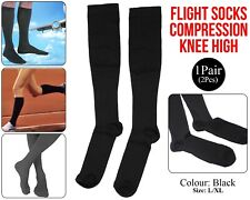 Flight Travel Socks Compression DVT Support Anti Swelling Fatigue Stocking Black