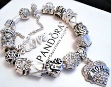 Authentic Pandora Silver Charm Bracelet With Family Mom White European Charms