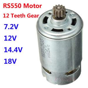 RS550 Motor 12 Teeth Gear 7.2V 12V 14.4V 18V For Cordless Drill Shaft Dia.3mm