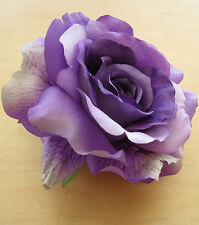 "Large 5"" Variegated Purple,Violet Rose Silk Flower Hair Clip, Wedding, Prom"