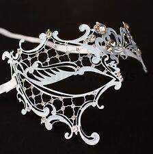 White Metal Laser Cut Filigree Phentom Mask Masquerade w/ Rhinestones Party Prom
