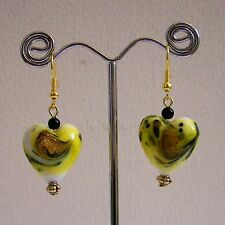 New Yellow, White & Gold Glass Heart Black Glass Bead Drop Gold Plated Earrings