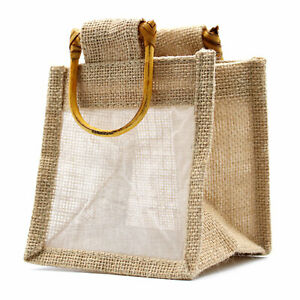 5 x One Window Jar Jute Gift Bag - Natural Gift Bags With Handles 12 x 12 x 12cm