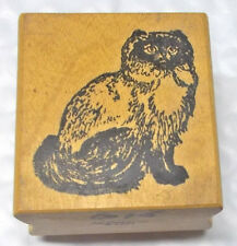 Cat rubber stamp All Creatures sitting pets wood mounted Siamese Balinese ?