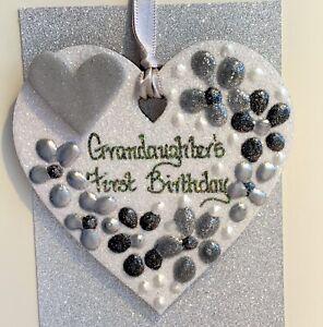 Grandaughter's First Birthday Keepskake On A Greetings Card Personalised