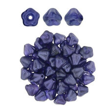 50 Purple Salvia Baby Bell Flower Glass Beads 6MM