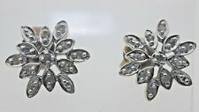 9ct Yellow Gold Diamond Snowflake Earrings Butterfly Backs 0.22 carats